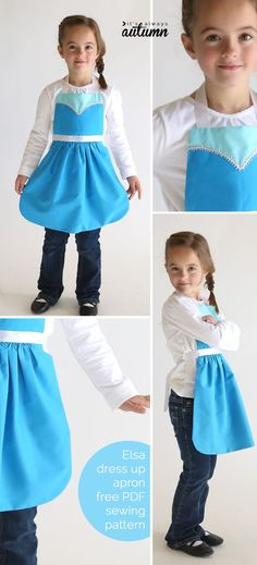 So adorable! Get the free PDF sewing pattern for this easy to make Elsa (Frozen) princess dress up apron in sizes 2-8 to fit any little girl!