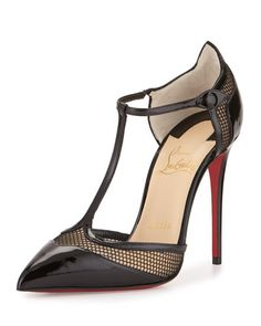 S0CS9 Christian Louboutin Mrs. Early T-Strap Red Sole Pump, Black