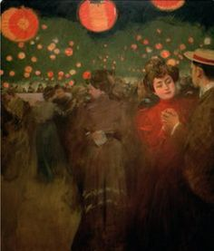 ☂ Paper Lanterns and Parasols ☂ Japonisme Art and Illustration - Ramon Casas i Carbo | The Open Air Party