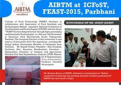 AIBTM at  ICFoST, FEAST-2015, Parbhani