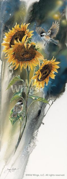 Love sunflowers and chickadees