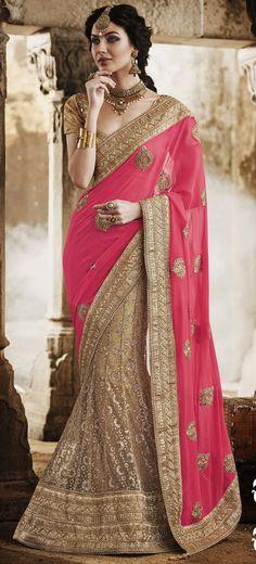 USD 167.54 Pink Faux Georgette Wedding Lehenga Saree 47367