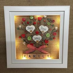 9 LED light box frame personalised family tree scrabble Loving this idea but I would redo nitbliking some of the colors and decoration Scrabble Crafts, Scrabble Frame, Scrabble Tiles, Personalised Family Tree, Personalized Gifts, Personalised Frames, Button Art, Button Crafts, Christmas Shadow Boxes