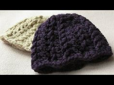 ▶ EASY crochet baby hat tutorial - chunky ribbed baby hat - YouTube