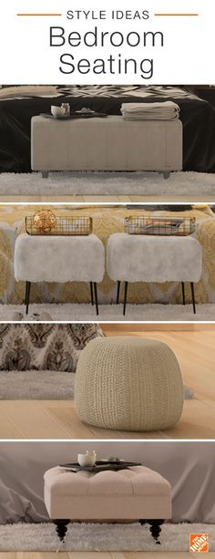 You don't need a lot of space to create a comfy seating area in your bedroom. Add a sleek storage bench, mid-century modern footstools, a comfy pouf, or a classic tufted ottoman for extra seating and surface area in your room. Click to shop all furniture.