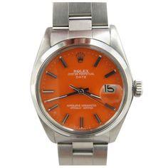 "Rolex Steel Oyster Perpetual Date c.1978 Custom ""Tangerine"" Dial"
