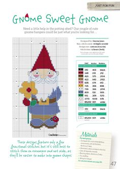 Gnome Sweet Gnome From Cross Stitcher N°307 July 2016 2 of 3