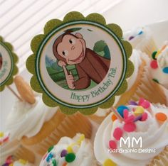 Curious George Theme  150 Cupcake Toppers  Personalized  by MMKids, $112.00