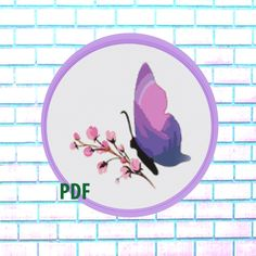 Butterfly Modern Cross Stitch Pattern, pink- landscape, flowers, needlepoint-DIY, insect, nature, embroidery, Instant download PDF by ItsStitchy on Etsy Sugar Skull Halloween, Bird Skull, Modern Cross Stitch Patterns, Colorful Pictures, Cross Stitching, Needlepoint, Pdf, Butterfly, Kids Rugs