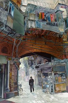 John T. Salminen (American, born 1945) watercolor 'Passage'