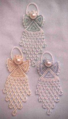 brick stitch jewelry Ideas, Craft Ideas on brick stitch jewelry Beaded Christmas Ornaments, Christmas Jewelry, Handmade Christmas, Angel Ornaments, Beaded Crafts, Jewelry Crafts, Jewelry Ideas, Beading Projects, Beading Tutorials