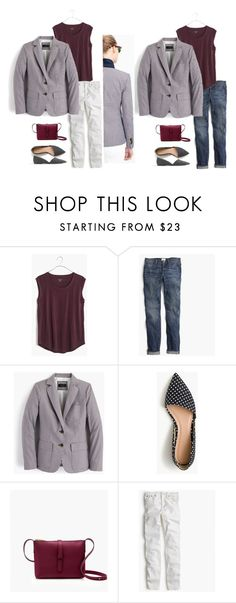 """""""Rhodes blazer in microgingham item f0306 Red Navy Port White"""" by justvisiting ❤ liked on Polyvore featuring Madewell and J.Crew"""