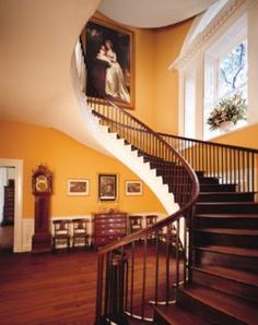 The interior of the neoclassical Nathaniel Russell House in Charleston, SC....shown here is the elliptical stair case for which the house is most famous. Even by today's engineering advancements, such stairways are considered architectural marvels... how fantastic is it that this one, constructed around 1808, still stands and is functional!