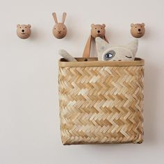 Animal Alphabet Wall Hanging Gives 5 meals Alphabet Wall, Animal Alphabet, Wooden Wall Hooks, Wooden Walls, Decoration Originale, Wood Wallpaper, Japan Design, Modern Kids, Baskets On Wall