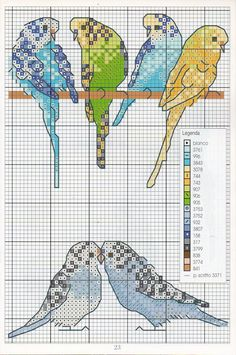 Borduurpatroon Kruissteek Papegaai - Parkiet *Embroidery Cross Stitch Pattern Parrot