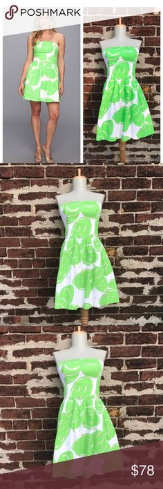 Lilly Pulitzer 0 Stinger Lottie Dress Bee Printed You're looking at a beautiful bright Lilly dress. Strapless. Bright green bee print with pretty Metallic detailing and hot pink exposed zipper.   Size 0   Cotton  Gently preowned; in wonderful condition! (Zipper does work fine, my dress form is just a little bigger than a size 0!) Lilly Pulitzer Dresses Strapless