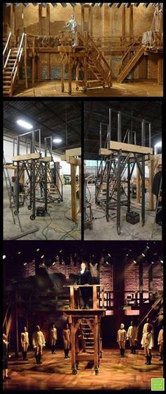 """On his Facebook page, set designer David Korins posted: """"Celebrating President's Day by bringing George Washington into the 21st century. Shown here from model to final product, this rolling unit serves double duty in Hamilton as a staircase and soapbox for up-and-coming American leaders."""" http://livedesignonline.com/theatre/hamilton-hit"""