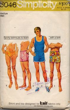 Simplicity 5046 1970s Mens Tank Top T Shirt Speedo Boxer Style Briefs Swimsuit vintage sewing pattern by mbchills