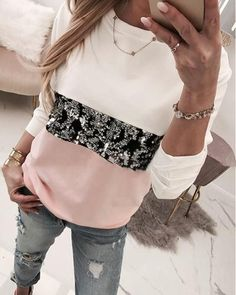 Round Neck Colorblock Insert Sequins Long Sleeve Sweatshirt Women's Online Shopping Offering Huge Discounts on Dresses, Lingerie , Jumpsuits , Swimwear, Tops and More. Trend Fashion, Fashion Week, Fashion Outfits, Women's Fashion, Japan Fashion, India Fashion, Fashion Pattern, Shirt Bluse, Pullover Hoodie