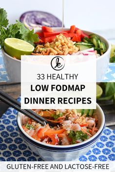 Looking for low FODMAP recipes for dinner? In this recipe round-up you find 33 healthy low FODMAP dinner recipes! Divided in meat, fish, vegetarian and vegan low FODMAP recipes. Yummy, simple and heal Lactose Free Diet, Lactose Free Recipes, Fodmap Recipes, Gluten Free, Vegan Diner, Healthy Dinner Recipes, Vegetarian Recipes, Vegetarian Italian, Diet Recipes