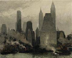 Luigi Kasimir(Austrian, New York-Fog and Mist 1936 Soft ground etching with aquatint in color N. Moritz Color Etching with Remarque. New York Art, Urban Art, Impressionism, Luigi, New Art, Printmaking, Illustration Art, Illustrations, Image