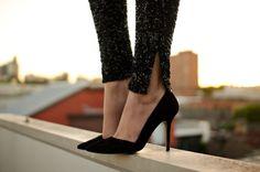 sequins,  pointy-toe heels