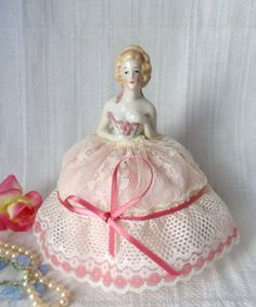 German Half Doll Pincushion in Gown Antique by MountainThyme1, $119.00