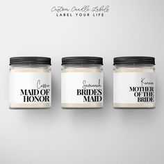 Bridesmaid and Maid of Honor Candle Labels // Bridal Party Gift // Mother of the Bride and Groom // Personalized Candles, Custom Candles, Candle Labels, Maid Of Honor, Party Gifts, Mother Gifts, Mother Of The Bride, Wedding Favors, Dream Wedding