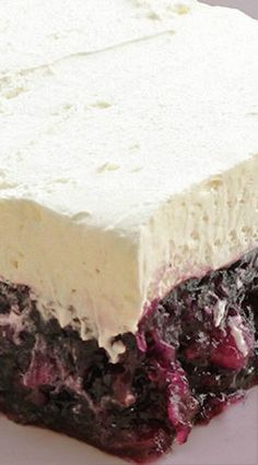 Creamy-Topped blackberry jell-o salad w/ blueberries, pineapple -- variation from the original jell-o salad, recipe is versatile, -chg jello flavor, Blueberry Jello Salad, Jello Fruit Salads, Jello With Fruit, Jello Flavors, Jello Desserts, Blueberry Desserts, Dessert Salads, Summer Desserts, Fruit Recipes
