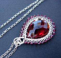 AAA gemstone sterling silver fine jewelry necklace - AAA rhodolite garnet quartz - garnet rondelles - intricate sterling wire wrapping by PureJoyArt on Etsy https://www.etsy.com/listing/205633493/aaa-gemstone-sterling-silver-fine