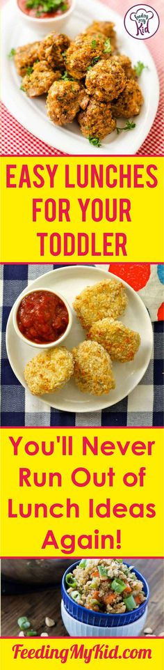 Lunch Ideas for Toddlers. You'll Never Run Out of Lunch Ideas Again! These lunch ideas for toddlers will please every picky eater. They're super simple and easy to put together. You'll never run out of lunch ideas again! Easy Lunches For Kids, Toddler Lunches, Healthy Meals For Kids, Kids Meals, Healthy Recipes, Toddler Food, Healthy Food, Kid Lunches, Easy Recipes