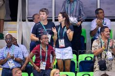 Crown Prince Frederik and Crown Princess Mary watching a swimming competition at the 2016 Olympic Games in Rio de Janeiro, Brazil on August 6th, 2016. As of yesterday night, Mary has returned to Denmark as the couple's children reportedly start school soon. Frederik will remain in Brazil during the remainder of the Olympic Games (until August 21st) in his role as a member of the International Olympic Committee.