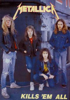James Hetfield, Lars Ulrich, Kirk Hammett, and Cliff Burton Cliff Burton, James Hetfield, Ron Mcgovney, Jason Newsted, Robert Trujillo, Dave Mustaine, Heavy Metal Rock, Heavy Metal Bands, Thrash Metal