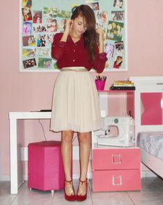 Estilo evangélico - Sapato colorido  Saia de tule , Camisa Vinho , Sapato Vinho  Blog By Ana K - Ana Karla