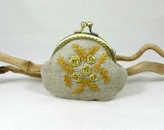 Linen coin purse, floral change purse, embroidered pouch, hand embroidery, gold…