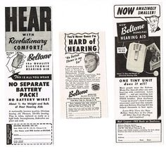 Vintage Ads for Beltone Hearing Aids, Circa 1950s.