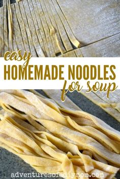 Learn to make homemade noodles with just 3 ingredients. No fancy equipment required. Noodles from scratch are easy to make, and taste amazing in a pot of chicken soup. Homemade Chicken And Noodles, Homemade Pasta, Homeade Noodles, Homemade Noodle Recipe, Chicken Noodles, Easy Homemade Recipes, Beef And Noodles, Pasta Noodles, How To Make Homemade