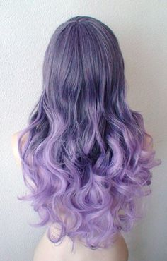Pastel Purple Ombre wig. Long curly hair long side bangs-11 Main