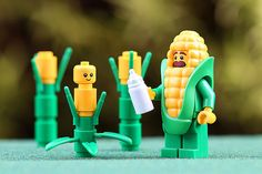 """Baby Corn"" Congratulations to the LEGO HUB Photographer of the Day: . Lego Minifigs, Lego Duplo, Legos, Lego Humor, Lego Baby, Construction Lego, Lego Knights, Amazing Lego Creations, Lego People"