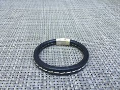 Now on Sale  Men's Brown Leather Stitched Bracelet by DjoiDesigns