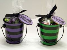 These are little pails from Target and Beth Beard added some M & M's in a cellophane bag, tied with a ribbon, and added a cute stamped greeting.