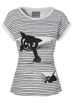 Fun shirt - Cat & Mouse Print T-Shirt Fabric Paint Designs, T Shirt Painting, Cat Shirts, Refashion, Diy Clothes, Textiles, Pullover, Shirt Style, Ideias Fashion
