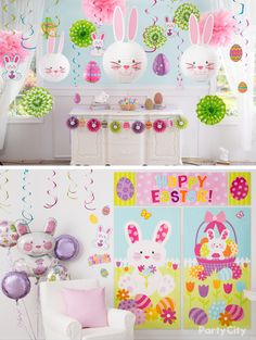 Get egg-cited for Easter with whimsical home décor! From scene setters to ballo. Get egg-cited for Easter with whimsica. Easter Birthday Party, Bunny Birthday, Birthday Parties, 1st Birthday Girl Decorations, Easter Table Decorations, Dance Decorations, Easter Egg Crafts, Easter Bunny, Easter Eggs