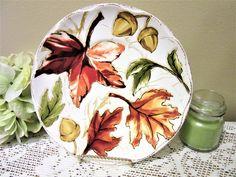 Plate Salad Bread Harvest Leaf Collection Porcelain Ceramic Stoneware Golden blm by PorcelainChinaArt on Etsy