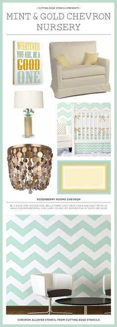 A DIY nursery inspiration board featuring the Chevron Allover wall stencil.  http://www.cuttingedgestencils.com/chevron-stencil-pattern.html?utm_source=JCG&utm_medium=Pinterest%20Comment&utm_campaign=Chevron%20Allover
