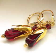 Red Glass Earrings Gold Bead Caps