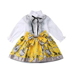 Baulody Ifant Toddler Baby Girls Summer Dress Fly Sleeve Solid Bow Casual Princess Party Tutu Clothes