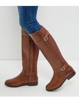Shop Wide Fit Tan Leather-Look Knee High Boots . Discover the latest trends at New Look. Tan Leather, Leather Boots, New Look Boots, Tan Knee High Boots, Wide Fit Shoes, Vegan Boots, Side Zip Boots, Shoe Gallery, Boots