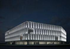 Projekt iluminacji budynku Centrum Biurowego G5 w Lublinie. Illumination design of G5 Office Center in Lublin.
