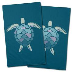 Island Girl Andros Sea Turtle Hand Towel (Set of Seaside Home Decor, Coastal Wall Art, Coastal Decor, Hand Towel Sets, Hand Towels, Beach Theme Kitchen, Nautical Kitchen, Parking Spot Painting, Nautical Pattern